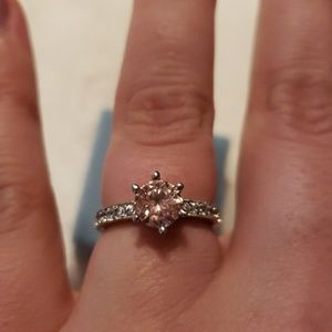 Pink Sapphire Ring with White Sapphire Accents